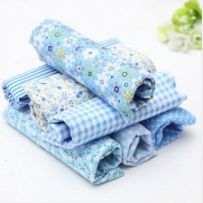 Buy 7 Pieces patterned Fabric Squares sky blue