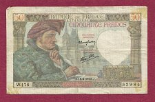 Buy FRANCE 50 Francs 1942 Banknote 437452984 - Jacques Coeur/Jack Heart - WWII Currency!