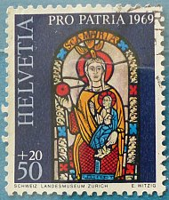 Buy Stamp Switzerland 1969 Pro Patria Madonna with Child in Stained Glass 50 + 20 Centime