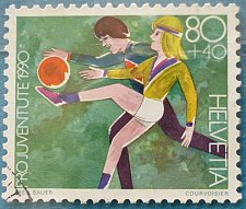 Buy Stamp Switzerland 1990 Pro Juventude Child Development Children playing football
