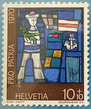 Buy Stamp Switzerland 1970 Pro Patria Art Stained Glass Windows Sailor of Gian Casty 10