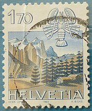 Buy Stamp Switzerland 1983 Definitive Zodiac signs and landscapes Cancer & Wetterhorn 1.7