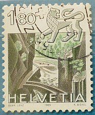 Buy Stamp Switzerland 1983 Definitive Zodiac signs and landscapes Leo & Areuse gorge 1.8