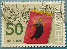 Buy Stamp Switzerland 1988 600 Anniversary Battle of Näfels St.-Fridolins Banner 50 C