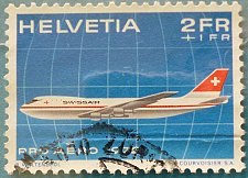 Buy Stamp Switzerland 1972 Pro Aero: Boeing B747 of Swissair 2+1 Fr