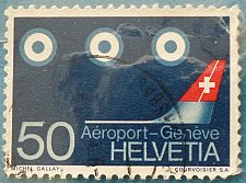Buy Stamp Switzerland 1968 Airport Geneva Stylised aircraft 50 Centime
