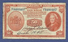 Buy NETHERLANDS INDIES 50 Cent 1943 Banknote FA489407 –P110 Scarce Note WW2 Currency