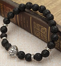 Buy silver plated lion head bracelet