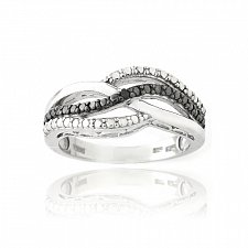 Buy Sterling Silver Black Diamond Accent Black & White Wave Design Ring