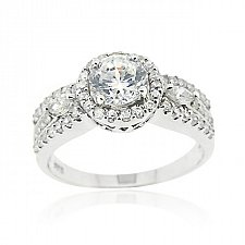 Buy Sterling Silver CZ Bridal Engagement Ring Size
