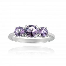 Buy Sterling Silver .9ct Amethyst Three Stone Ring