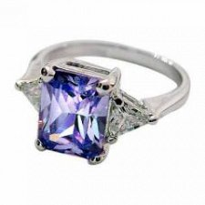 Buy Sterling Silver Lavender CZ Emerald Cut Ring