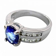 Buy Sterling Silver Oval Tanzanite & Clear Double Row CZ Ring