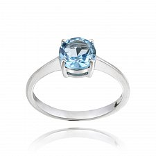 Buy Sterling Silver Swiss Blue Topaz Solitaire Round Ring