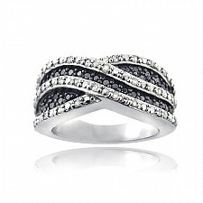 Buy Sterling Silver 1/2ct Black & White Diamond Crossover Wave Band Ring