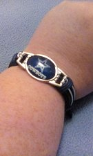 Buy Dallas Cowboys Silver Blue Leather Braclet Free Shipping