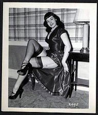 Buy BETTY PAGE BLACK LEATHER DRESS POSE VINTAGE IRVING KLAW PHOTO 4X5 #2095