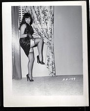 Buy BETTY PAGE BLACK LEATHER DRESS POSE VINTAGE IRVING KLAW PHOTO 4X5 HH-149