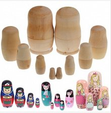 Buy 5 set paint doll wooden blank