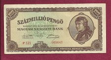 Buy Hungary 100 Million Pengo 1946 Banknote 065647 Woman Wearing Headscarf/Parliament