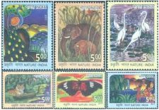 Buy India Commemorative Stamp 2017 on Crane,Deer,Tiger,Elephant,Butterfly and Peaco