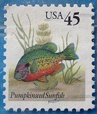 Buy Stamp USA United States of America 1992 Pumpkinseed Sunfish (Lepomis gibbosus) 45c