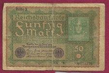 Buy Germany 50 Mark 1919 Imperial Banknote 225426 - Reihe 3 - German Empire