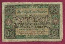 Buy Germany 10 Mark 1920 Banknote P7622301 - Republic Treasury Note - German Empire