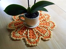Buy Dishcloth Doily~Crochet~Handmade~100% Cotton~Orange with Yellow Trim