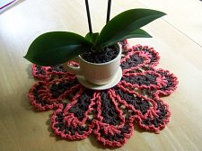 Buy Dishcloth Doily~Crochet~Handmade~100% Cotton~Brown Trimmed in Melon