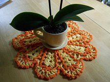 Buy Dishcloth Doily~Crochet~Handmade~100% Cotton~Yellow trimmed in Orange