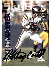 Buy 1992 Anthony Carter WR, Skybox trading card 187 Signed - E3