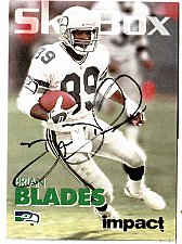 Buy 1992 Brian Blades WR, Skybox trading card 305 Signed -E3