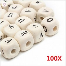 Buy 100pcs wooden alphabet buttons