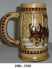 """Buy CS50 - 1981 """" Snow Covered Birch Trees"""" Budweiser Holiday Stein"""