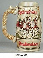 "Buy CS58 - 1983 ""Cameo Whetland Design"" Budweiser Holiday Stein"