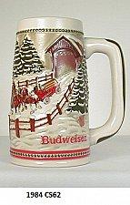"Buy CS62 - 1984 ""Team & Wagon with Coverd Bridge"" Budweiser Holiday Stein"