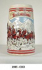 """Buy CS63 - 1985 """" Snow Capped Mountain"""" Budweiser Holiday Stein"""