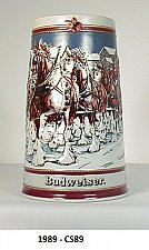 """Buy CS89 - 1989 """"Hitch on a Wintr's Evening"""" Budweiser Holiday Stein"""