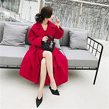 Buy women woolen long coat RED