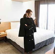 Buy Women black 2 pieces long coat