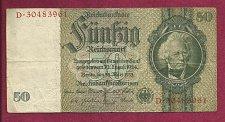 Buy Germany 50 Mark 1933 Banknote D30483961 Post WWI 2nd Reich - Portrait Hansmann