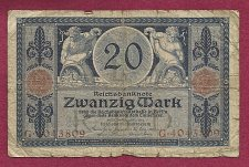 Buy Germany 20 Mark 1915 P63 Banknote #G4043809 - 2 men with cornucopias with money