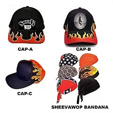 "Buy SHEEVA ""FLAMING BASEBALL"" CAPS - UNISEX"