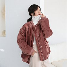Buy women oversize zipper up coat