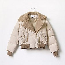 Buy women zipper up cotton blend short coat Apricot