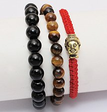 Buy buddha 3pcs elastic beads bracelet