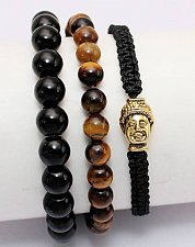 Buy buddha 3pcs elastic adjustable beads bracelet