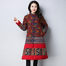 Buy women vintage patchwork long coat