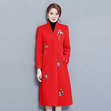 Buy women vintage embroidery long coat